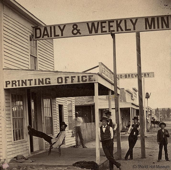 Arizona Miner newspaper office, c. 1878. (Courtesy Sharlot Hall Museum, call number 1400.8135.0003)