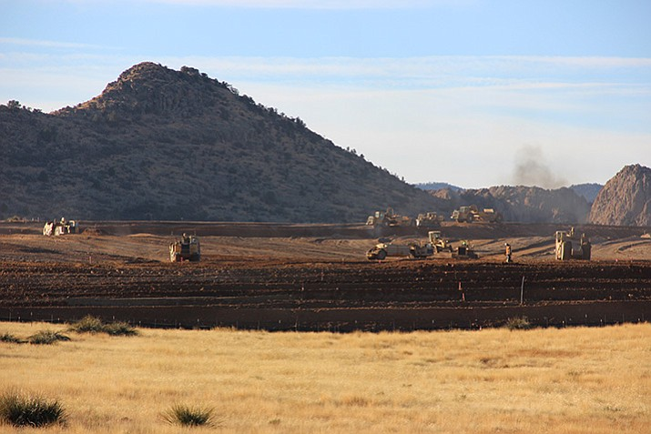 Grading is taking place just south of Highway 89A for a section of Jasper, a development expected to add 3,587 residential units on 1,245 acres of property annexed by Prescott Valley. (Max Efrein/Courier)