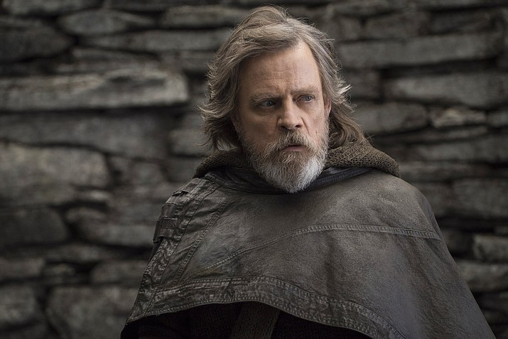 "Mark Hamill as Luke Skywalker in ""Star Wars: The Last Jedi."" On the last day of the calendar year, ""Star Wars: The Last Jedi"" has surpassed ""Beauty and the Beast"" as the top grossing film in North America in 2017. (John Wilson/Lucasfilm via AP, File)"