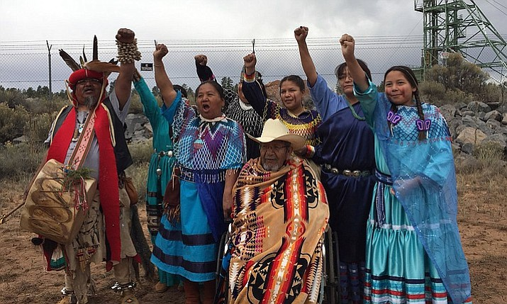 Havasupai Tribal members protest in front of Canyon Mine, a uranium mine near the South Rim of the Grand Canyon. (Photo by/Grand Canyon Trust)