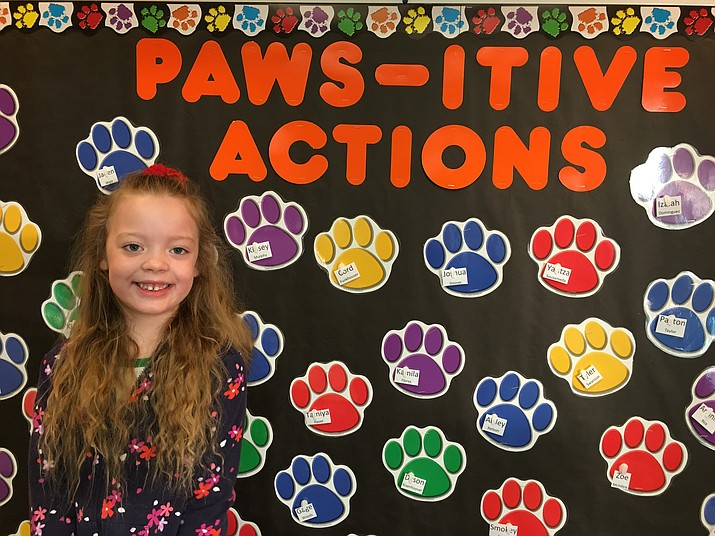 Presley Jones is a motivated, caring, and generous kindergarten student in Ms. Jensen's class at Territorial Early Childhood Center.