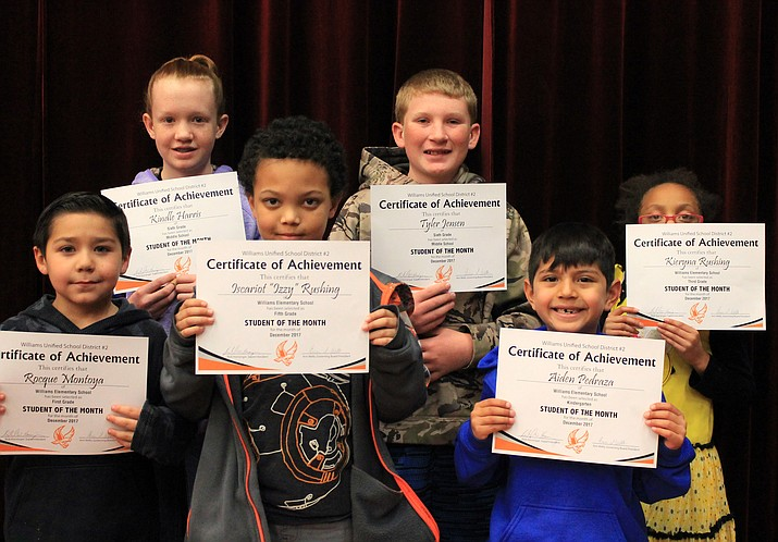 Williams Elementary School announced its December Students of the Month. They include Izzy Rushing, Aubrey Hardin, Kieyma Rushing, Ivan Davila, Rocque Montoya and Aiden Pedraza. The Williams Middle School Students of the Month are Tyler Jensen and Kindle Harris.