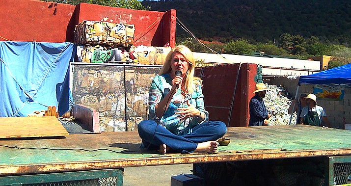 Sarah McLean leading a meditation at Sedona Recycles, one of the founding businesses of the Sustainability Alliance. A drop off location is behind Clark's Market (Weber's) in the Village of Oak Creek.
