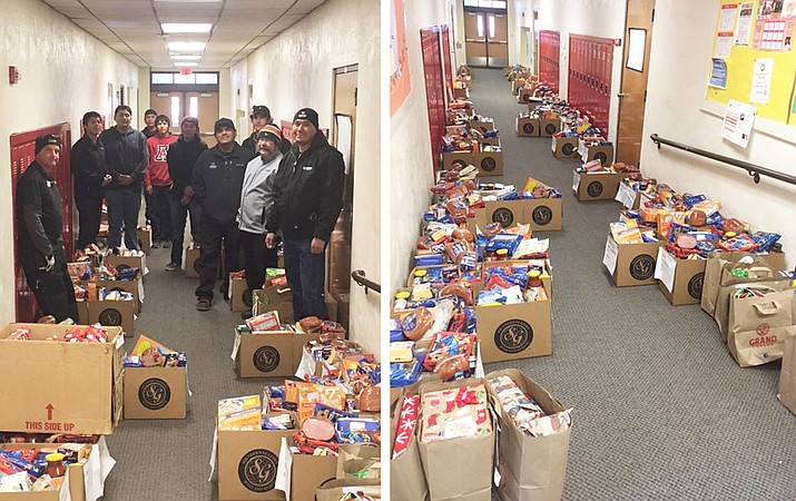 Grand Canyon School school reached out to families participating in the free and reduced lunch program and Delaware North provided baskets for each family as part of its annual Angel Tree program Dec. 22.