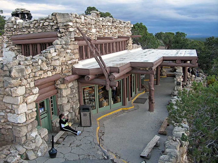 Constructed in 1914 by Santa Fe Railroad architect Mary Colter, Hermits Rest is located several miles west of Grand Canyon Village on the South Rim.