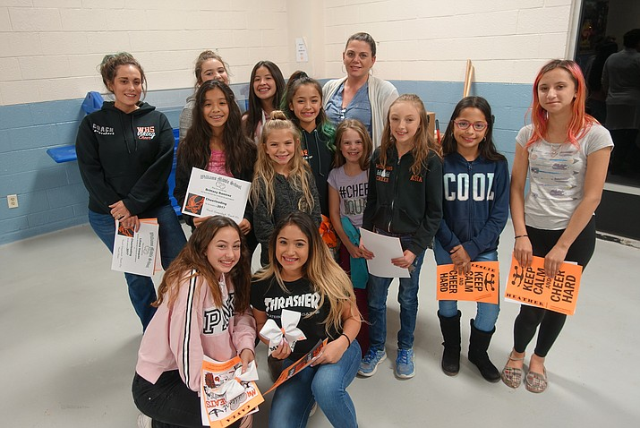 Several Lady Falcons cheerleaders and basketball players were given awards at the fall sports banquet.