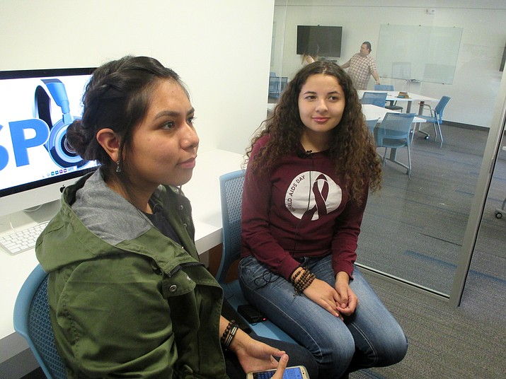 Hopi High's Amber Labahe interviews college intern Olivia Parker at Spot 127 in Phoenix. The after-school media program offers media internships to high school and colllege students. Stan Bindell/NHO