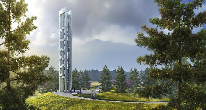This undated rendering provided by Friends of Flight 93 National Memorial depicts the Tower of Voices, which is scheduled to open in September at the Flight 93 National Memorial in Stoystown, Pa. The 93-foot tower will be part of the commemoration of the downing of the jet on Sept. 11, 2001. It will feature 40 chimes, a symbolic representation of the 40 passengers and crew who perished in the crash of Flight 93. (Friends of Flight 93 National Memorial via AP)