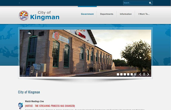 The current City of Kingman website. A website redesign is in the works and is expected to launch June 1.