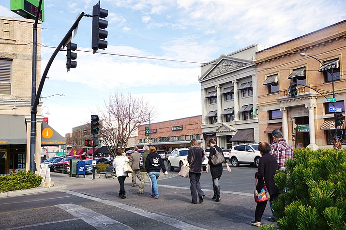 Regardless of the corner or the time of day, downtown Prescott's intersections, including the one at Gurley and Cortez, are consistently busy – likely one of the factors that contributes to the number of vehicle-versus-pedestrian crashes on city streets. (Cindy Barks/Courier)