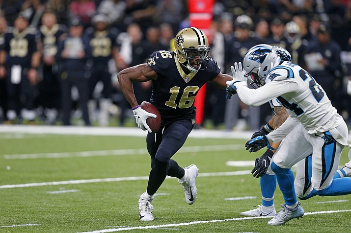 New Orleans Saints wide receiver Brandon Coleman (16) carries against Carolina Panthers cornerback James Bradberry (24) in the second half of an NFL football game in New Orleans, Sunday, Jan. 7, 2018. (Butch Dill/AP)