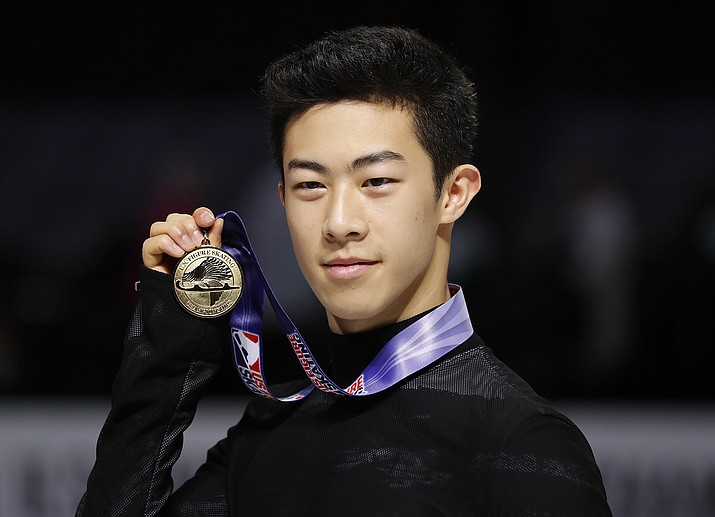 Nathan Chen poses after winning the men's skate event at the U.S. Figure Skating Championships in San Jose, Calif., Saturday, Jan. 6. (Tony Avelar/AP)