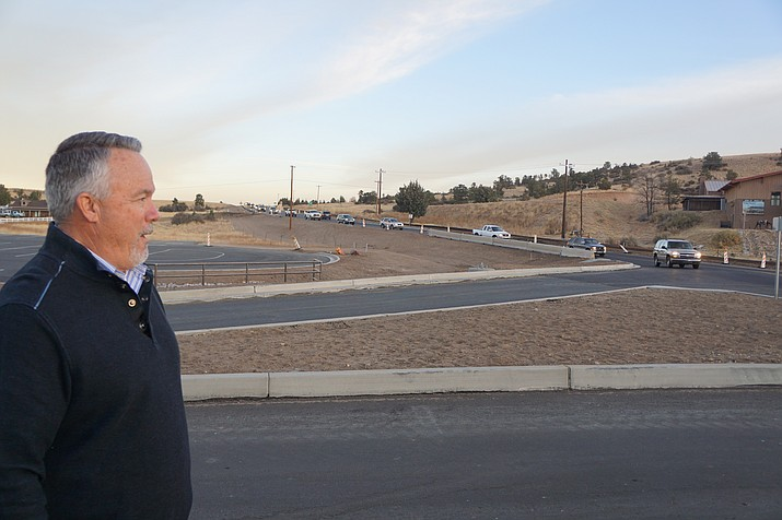 Prescott Construction Services Administrator Tim Sherwood says Prescott's $5.1 million Highway 89 widening and roundabout project is about 60 percent complete. Work is now focusing on the eastern side of the Phippen Roundabout. (Cindy Barks/Courier)