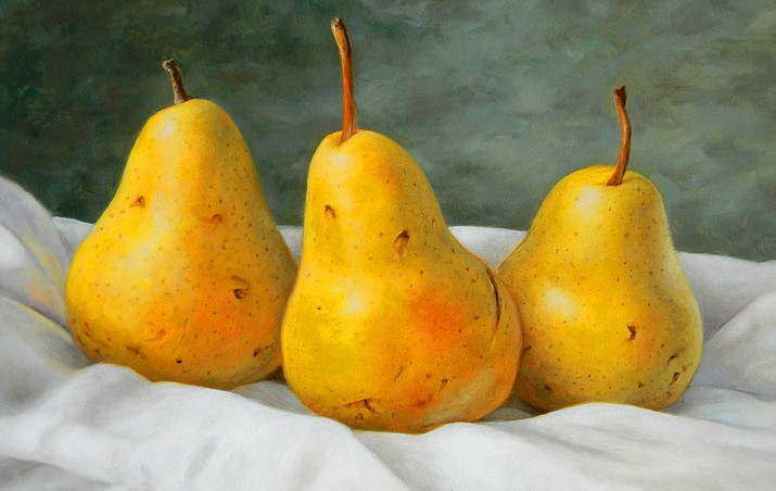 "Photo of painting titled ""Three Pears"", by Janet Weaver."
