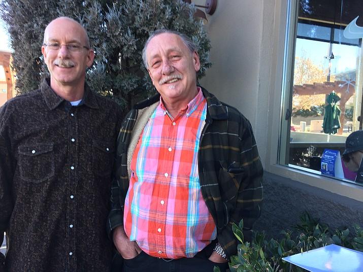 Steve Miller, right, with U.S. VETS Development Director Matthew Phillips outside Starbucks on Dec. 29, 2017, in Frontier Village.