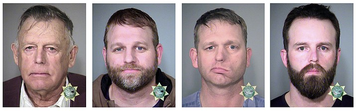 This undated combination of file photos provided by the Multnomah County, Ore., Sheriff's Office shows, from left, Nevada rancher Cliven Bundy and his sons Ammon Bundy and Ryan Bundy and co-defendant Ryan Payne.