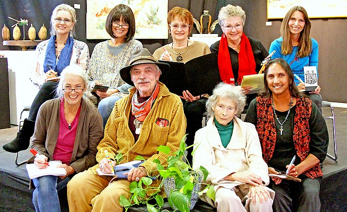 Pictured - Left to Right Back: Melanie Lee, Sharron Porter, Liz Hargrove,Constance Patrick, Marita Gale.  Front: Kate Hawkes, James Bishop, Adele Seronde and Carla Riedel  Notpictured andalso sharing their poems are: Barbara Mayer, Gary Every, Mary Heybourne, Wendy Harford, Martha Entin, Todd Metcalf, Bonnie Hartenstein and Peaches Bedoni Jo B. & Walton (photo courtesy the Performers)