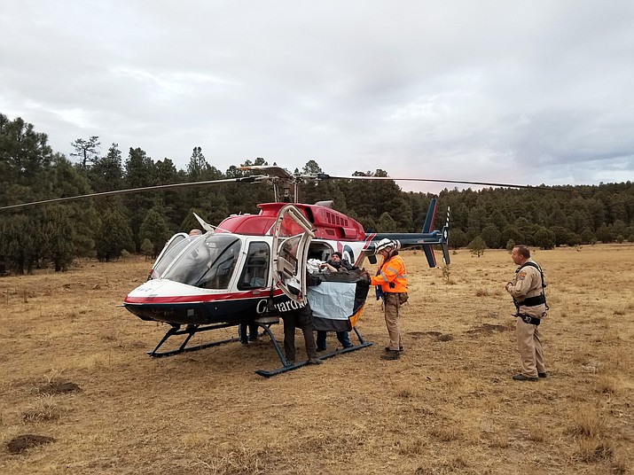 Emergency personnel came to the aid of a seriously injured mountain biker who was located approximate two miles down the Yeager Canyon Trail on Thursday afternoon. (Photo courtesy of Jerome Fire Department)