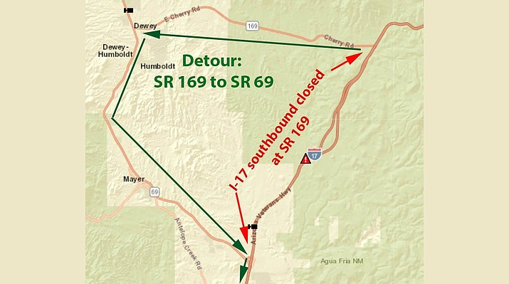 ADOT Alert: The closure of I-17 southbound at SR 169 may be an extended one due to a serious crash and law enforcement investigation Tuesday evening, Jan. 9, 2017. SR 169 west to SR 69 southbound is a detour route. Expect delays.
