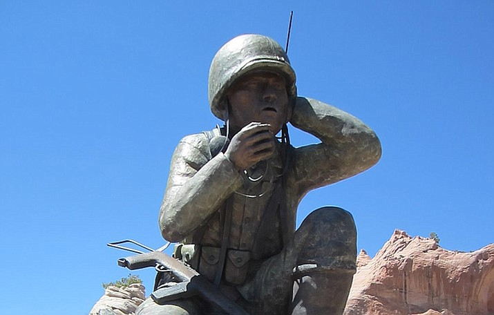The Navajo Code Talker Memorial in Window Rock, Arizona honors those who saved the Nation by their use of the Navajo language during WWII to create an unbreakable code. Katherine Locke/NHO