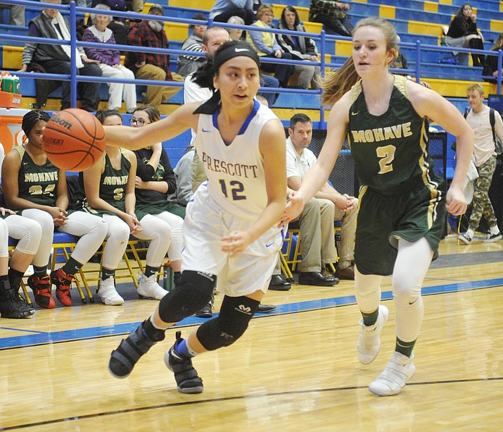 Prescott's Theresa Gutierrez drives towards the lane as the Badgers take on Mohave on Jan. 9, 2018, in Prescott. Gutierrez had 11 points in a 48-27 loss to Flagstaff on Friday, Jan. 19, 2018. (Les Stukenberg/Courier, File)