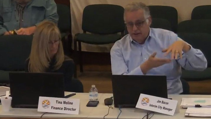 Finance Director Tina Moline, left, and Interim City Manager Jim Bacon at a special session Tuesday.