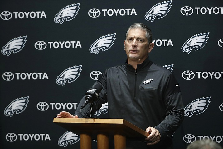 In this Dec. 12, 2017, file photo, Philadelphia Eagles defensive coordinator Jim Schwartz speaks with members of the media during a news conference at the team's training facility in Philadelphia. (Matt Rourke/AP, File)