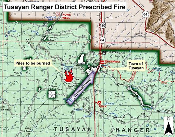 Kaibab National Forest will conduct slash pile burns Jan. 11 and 12 on the Tusayan Ranger Disrtict west of the town of Tusayan and Grand Canyon Airport.