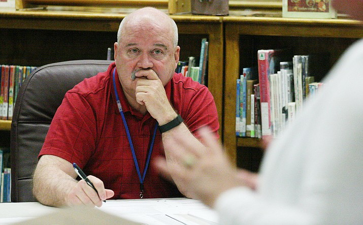 The Camp Verde Unified School District governing board decided Tuesday to utilize Arizona School Boards Association (ASBA) as a resource to find a replacement for District Superintendent Dr. Dennis Goodwin, pictured earlier this school year. (Photo by Bill Helm)