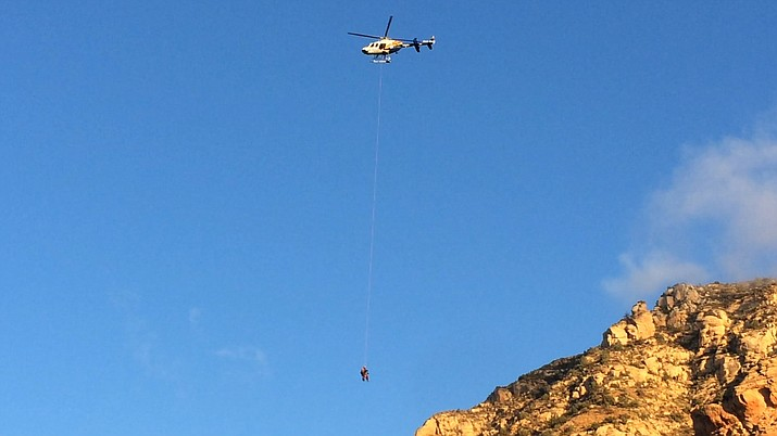 A 15-year-old boy was rescued Thursday morning from the south aspect of Capitol Butte (also known as Thunder Mountain) in Sedona by the Yavapai County Search and Rescue Team Back Country Unit aided by a DPS Ranger Helicopter. (VVN/Vyto Starinskas)