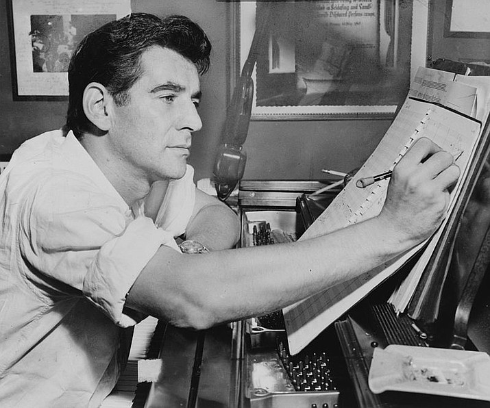 Leonard Bernstein during one of his composing sessions.