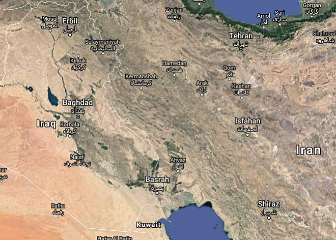 The border between Iraq and Iran is facing aftershocks from a tremblor that occurred in the mountainous region in November. (Google Maps)