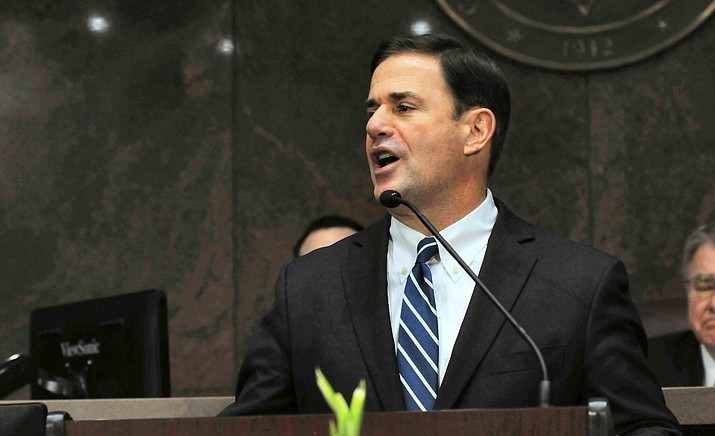 Gov. Doug Ducey gives his State of the State speech on Monday. (Capitol Media Services photo by Howard Fischer)