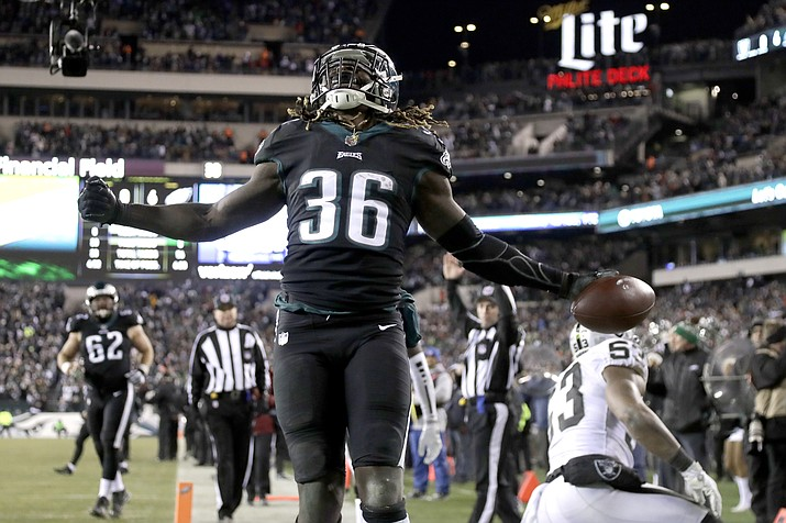 In this Dec. 25, 2017, file photo, Philadelphia Eagles' Jay Ajayi reacts after scoring a touchdown during the first half against the Oakland Raiders, in Philadelphia. (Michael Perez/AP, File)