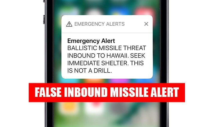 This smartphone screen capture shows a false incoming ballistic missile emergency alert sent from the Hawaii Emergency Management Agency system on Saturday, Jan. 13, 2018. The push alert that sent residents into a full-blown panic was a mistake, state emergency officials said.