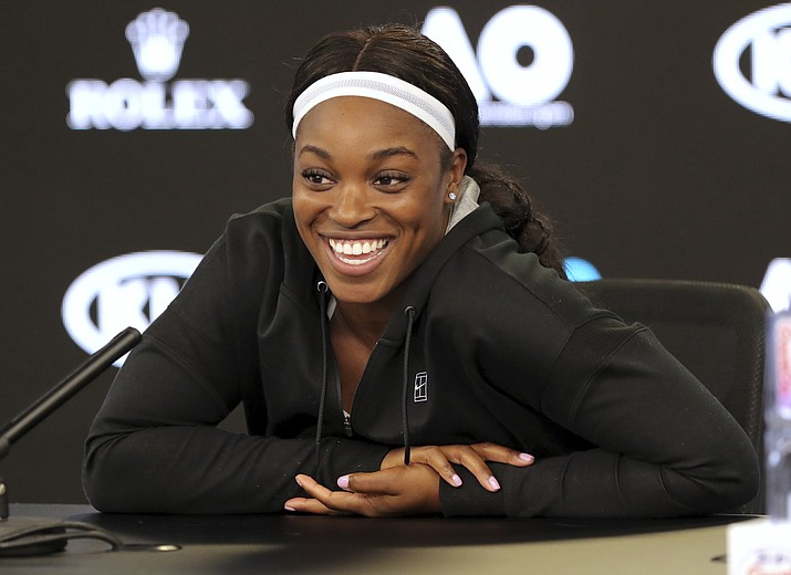 United States' Sloane Stephens smiles during a press conference at the Australian Open tennis championships in Melbourne, Australia, Saturday, Jan. 13, 2018. (Dita Alangkara/AP)