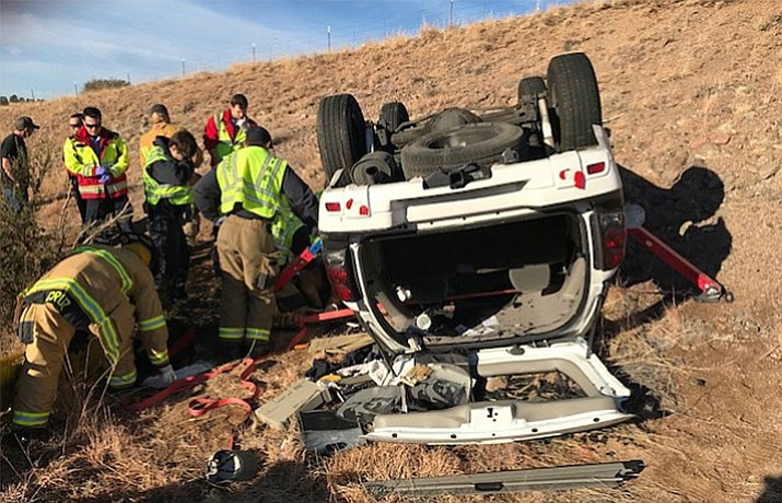 One woman suffered non-life threatening injuries in this single-vehicle rollover incident off Pioneer Parkway in Prescott on Sunday, Jan. 14, 2018. (Courtesy of Prescott Fire & Medical)