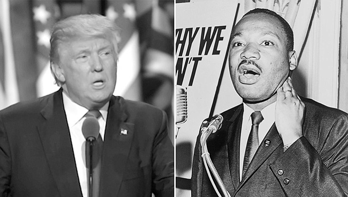 President Donald Trump and Martin Luther King Jr. (VOC photo and Library of Congress photo)