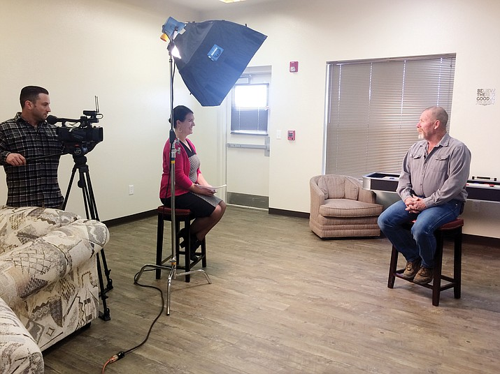 Chino Valley Councilman sits down for an interview with Boys & Girls Club of Central Arizona Vice President of Development Nicole Kennedy, the contents of which will be shown prior to his routine at the 2018 Dancing for the Stars event on Saturday, April. 14. (Jason Wheeler/Review)