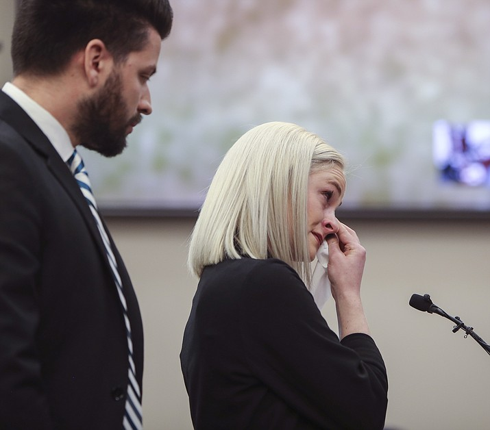 Olivia Cowan testifies Tuesday, Jan. 16, 2018, during the first day of the victim impact statements, in Lansing, Mich. (Matthew Dae Smith/Lansing State Journal, via AP)