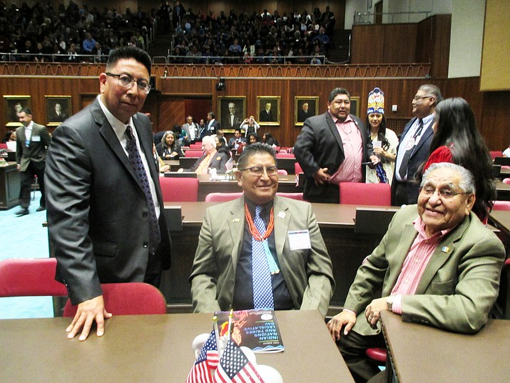 Hopi Chairman Tim Nuvangyaoma, Hopi Vice Chairman Clark Tenakhongva and Hopi Councilman Leroy Shingopitewa visit during Tribal Nations Legislative Day.