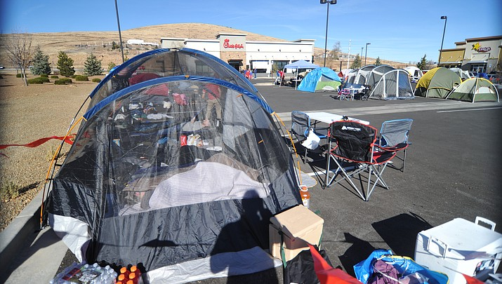 Local residents camp out for chance at free meals for a year