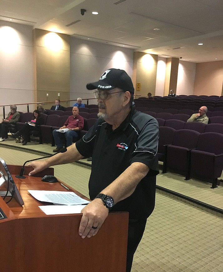 Pat Farrell, president of Jerry Ambrose Veterans Council, speaks to Mohave County Board of Supervisors Tuesday regarding the sale of Arnold Plaza. The board unanimously approved the sale for $58,500 to JAVC for renovation as a veterans' resource center.