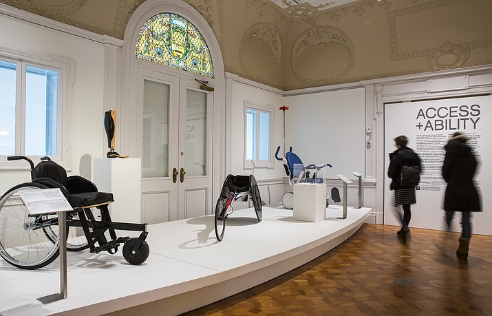 "This Dec. 15, 2017 photo shows an Installation view of ""Access+Ability."" The Cooper Hewitt Smithsonian Design Museum in New York is exhibiting cutting-edge items designed to improve the lives of those with all kinds of disabilities — and everybody else too. The designs are both fashionable and functional. They range from snazzy canes to tremor-proofs spoons to a racing wheelchair. (Chris J. Gauthier/Cooper Hewitt, Smithsonian Design Museum via AP)"