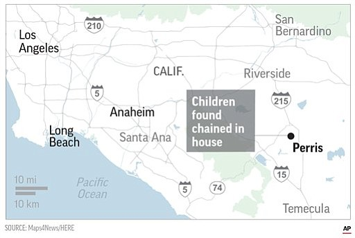 A map of the location of the home where 13 children were held captive and tortured. A 17-year-old girl called police after escaping from home. (AP)