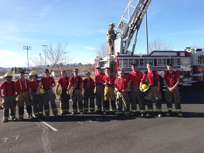 Students from Camp Verde, Sedona-Red Rock and Mingus Union high schools participate in Ladder Day, a part of Valley Academy of Career and Technology Education's Fire Science program. (Photos courtesy of V'ACTE)