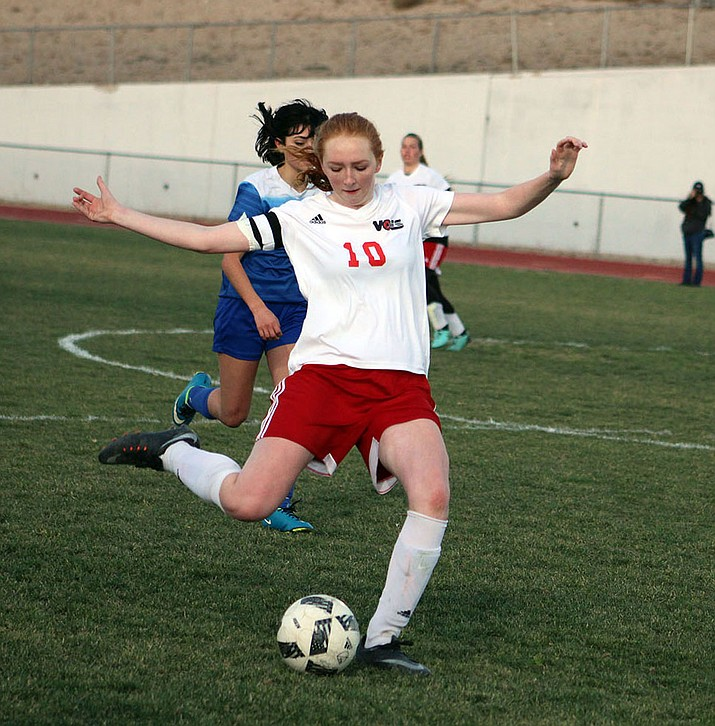 Lee Williams senior Marilyn Svihl sends a ball downfield Thursday against Prescott.
