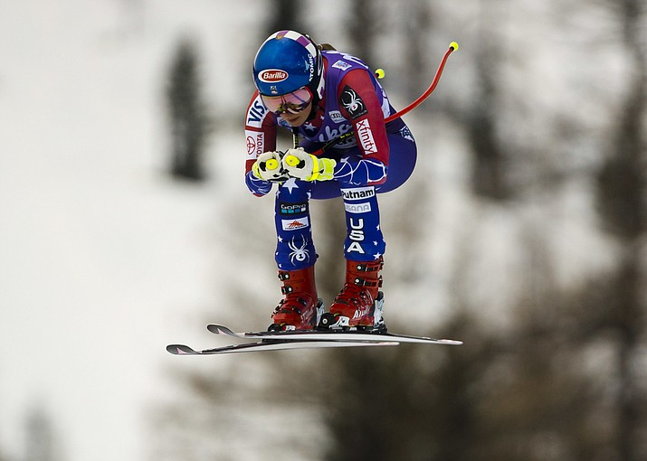United States' Mikaela Shiffrin goes airborne to place third in an alpine skiing, women's World Cup downhill in Cortina d'Ampezzo, northern Italy, Friday, Jan. 19, 2018. Shiffrin clocked the third fastest time of 1 minute and 37.29 seconds. (Domenico Stinellis/AP)