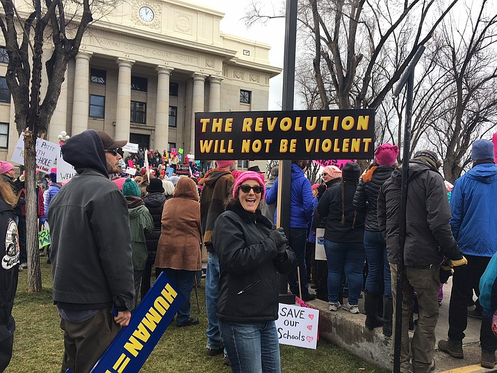 Participants' signs at the 2nd annual Women's March in downtown Prescott on Saturday, Jan. 20, were varied in size and message, with most holding to organizers' pledge for a non-partisan, non-violent march. (Les Stukenberg/Courier)