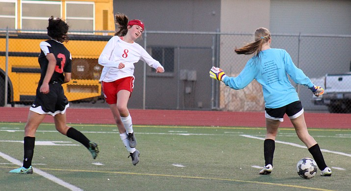 Mingus freshman Sadie Backs runs past the Coconino goalkeeper after the Panther won the ball during the Marauders' 2-1 loss on Thursday. (VVN/James Kelley)